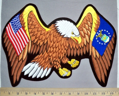 5749 R - Large Eagle With American Flag - Air Force Logo - Back Patch - Embroidery Patch