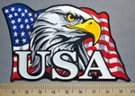 5750 G - Waving American Flag - Bald Eagle - U.S.A. - Back Patch - Embroidery Patch