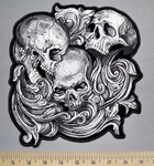 5751 G - Triple Skulls Within Growing Vine - Back Patch - Embroidery Patch -