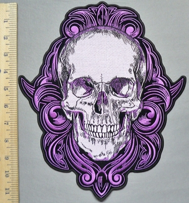 5752 G -  Smiling Purple Celtic Skull - Back Patch - Embroidery Patch
