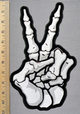 5754 G - Peace Skull Hand - Back Patch - Embroidery Patch