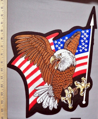 5756 R - Bald Eagle With Waving American Flag - Large Back Patch - Embroidery Patch