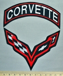 5757 L - Corvette - Back Patch And Top Rocker Set - Embroidery Patch