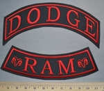 5759 L - Top And Bottom Rocker Set - Dodge Ram - Red - Embroidery Patch