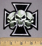 6973 C - 3 Evil Skulls Within Chooper - Iron Coss Logo - Embroidery Patch