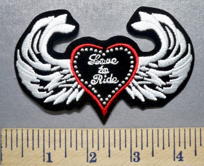 1986 S - Love To Ride - Angel Wings - Studs - Embroidery Patch