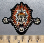 1925 CP - Idian Skull Rider Wearing Full Indian Head Dress Riding Motorcycle - Embroidery Patch