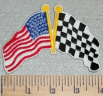 3057 N - American and Racing Checkered Flag - Embroidery Patch