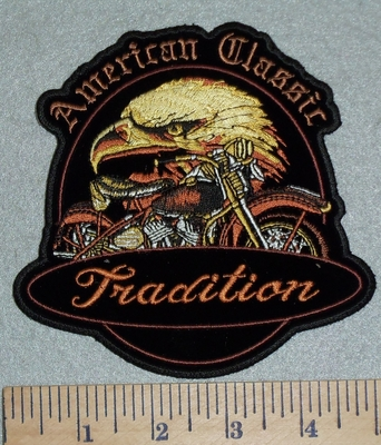 3091 G - American Classic - Tradition - Eagle With Motorcycle - 5 Inch - Embroidery Patch