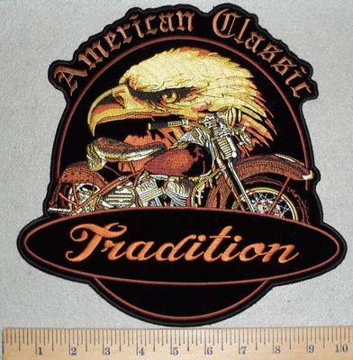 3092 G - American Classic - Tradition - Eagle With Motorcycle - Back Patch - Embroidery Patch
