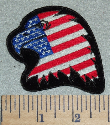 3062 R - American Eagle Flag -  3 Inch - Embroidery Patch