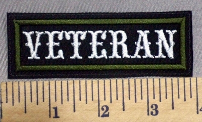 2043 L -Veteran - Army Green Border - Embroidery Patch