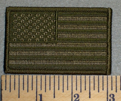 2478 G - American Flag - Army Green - Embroidery Patch