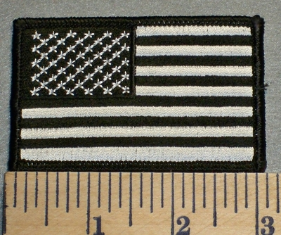 2480 G - American Flag - Black And White - Embroidery Patch
