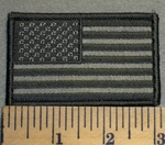2479 G - American Flag - Dark and Light Gray - Embroidery Patch