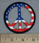 3412 N - American Flag Peace Sign - Embroidery Patch