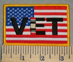 2390 W - American Flag With Vet - Iraq War  - Embroidery Patch