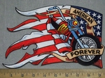 3559 N - American Forever Banner With American Flag And Motorcycle - Back Patch - Embroidery Patch