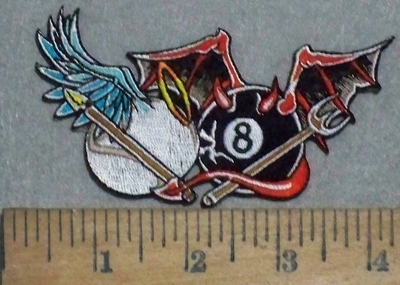 3539 N - Angel And The Devil 8 Ball And Que Ball - Embroidery Patch