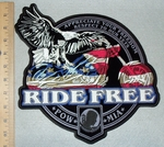 3147  G - Appreciate Your Freedom - Respect To Our Vets - Ride Free- American Eagle Riding Motorcycle - Back Patch - Embroidery Patch