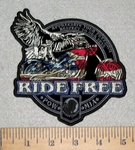 3141 G - Appreciate Your Freedom - Respect To Our Vets - Ride Free - Eagle Riding Motorcycle - Embroidery Patch