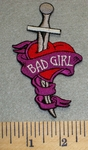 2457 N - Bad Girl With Sword Thru Heart - Embroidery Patch