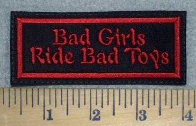 3246 L - Bad Girls Ride Bad Toys - Red - Embroidery Patch