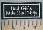 3025 L - Bad Girls Ride Bad Toys - White - Embroidery Patch