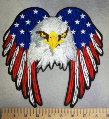 1741 C - Bald Eagle With American Flag Wings- Back Patch - Embroidery Patch