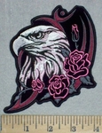 3460 G - Bald Eagle With Roses - Embroidery Patch