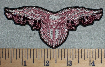 2721 G - Rhinestoned Bling Bling - Pink Open Wing Eagle With Shield - Embroidery Patch