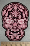 2725 G - Be- Dazzled Pink Paisley Skull Face - Back Patch - Embroidery Patch