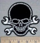 3405 G - Bike Chain Skull Face With Open Wrenches - 5 Inch - Embroidery Patch
