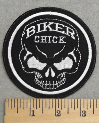 2871 L - Biker Chick With Skull Face - Round - Embroidery Patch