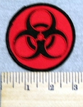 2999 W - Bio- Hazard Patch - Red Background Embroidery Patch