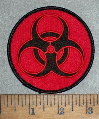 3522 W - Bio - Hazard Symbol - Logo - Red With Black - Embroidery Patch