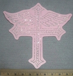 2743 L - Rhinestone Bling -  Cross With Angel  Wings - Pink - Back Patch - Embroidery Patch