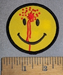 2455 S - Bloody Smiley With Bullet To Forehead - Embroidery Patch