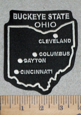 3140 L - Buckeye State - Ohio - Outline Of State With Major Cities -Embroidery Patch