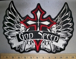 3097 L - God Speed - Red Cross With Angel Wings  - Back Patch - Embridery Patch
