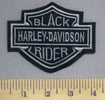 3542 L - Harley Davidson Logo -Black Rider - Gray - Embroidery Patch