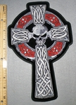 2277 G - Celtic Cross With Skull Face And Ring - Back Patch - Embroidery Patch
