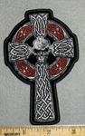 2247 G - Celtic Cross With Skull Face And Ring - Embroidery Patch