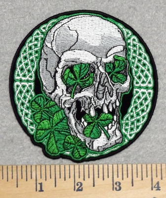 2847 G - Celtic Irish Skull Face With 3 Leaf Clover - Round - Embroidery Patch