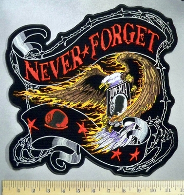 3277 G - Never Forget - Flaming Eagle With POW -MIA -Flowing Ribbon - Back Patch - Embroidery Patch