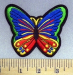 2567 S - Blue And Green Multi-Colored Butterfly - Embroidery Patch