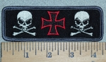 3113 R - Chopper Logo With 2 Skull Face And Crossbones - Embroidery Patch