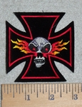 3109 R - Chopper Logo With Flaming Skull - Embroidery Patch