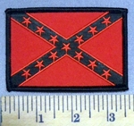 1888 S- Red And Black Confederate Flag - 3 Inch - Embroidery Patch