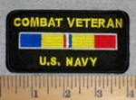 2775 W - Combat Veteran U.S. Navy - With COmbat Stripe - Embroidery Patch